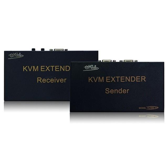 Frete grátis USB KVM extender 300 m kvm extender sender + receptor incluem cableusb kvm extender