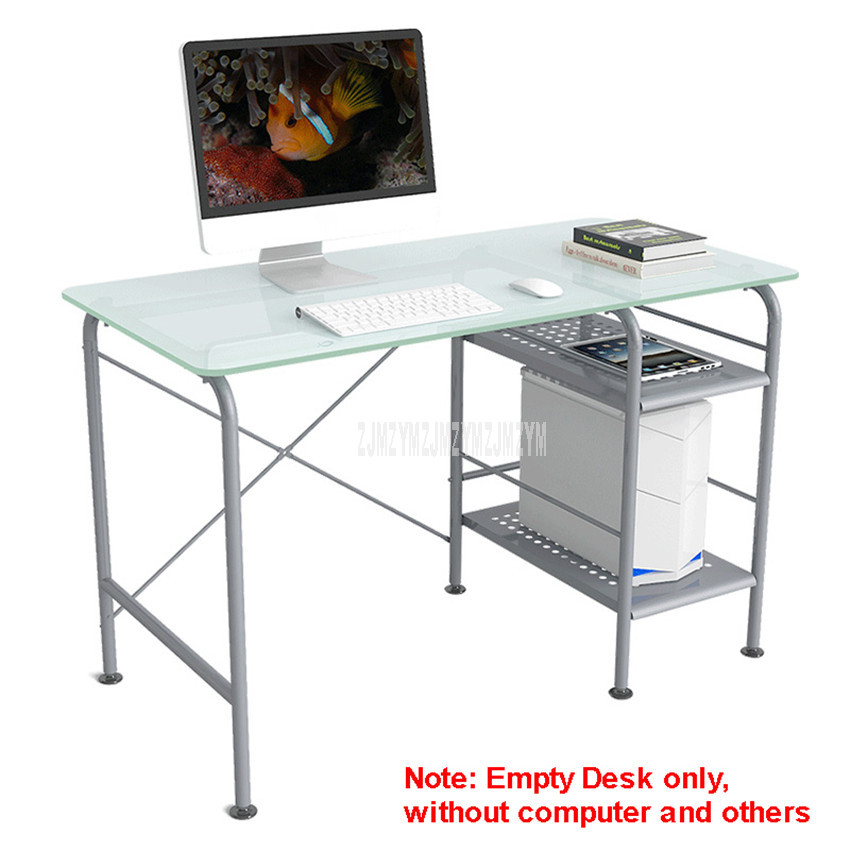 120*60cm Toughened Glass Desktop Notebook Benchtop Computer Table Steel Tube Support Lapdesk Bedroom Student Study Table 12136#