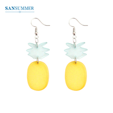 SANSUMMER New Fashion Earrings Womens Metal Creative Personality Pineapple Drop Female Resin 5447