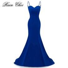 Халат De Soiree Империя Русалка Королевский синий вечернее платье ремни вечерние элегантные Праздничное платье длинное платье с аппликацией