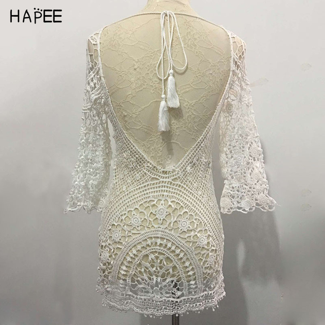 2017 Sexy lace swimwear cover ups hook flower long sleeve beach cover up summer dress pareo tunic dress as bikini cover up