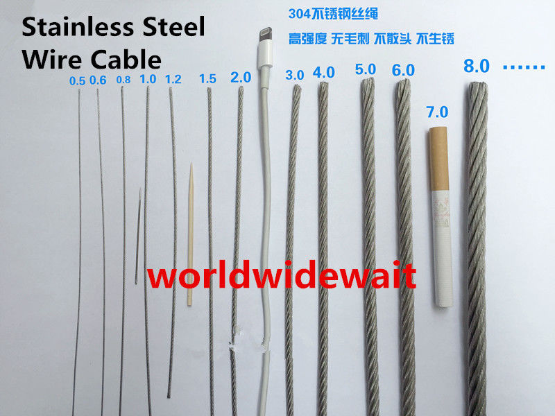 10M Long Stainless Steel Wire Rope Cable Dia. 0.5mm(7x7) For ...
