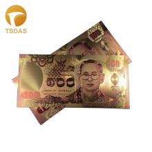 Thailand Colorful 24K Gold Banknote Plated 100 Baht, Bank Note Bills For Business Gift 10pcs/lot