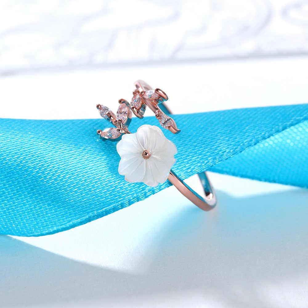 1 Pcs ที่ละเอียดอ่อนคริสตัล Leaf Shell ดอกไม้แหวนสำหรับสุภาพสตรีผู้หญิง Rose Gold สี Finger แหวนเครื่องประดับ