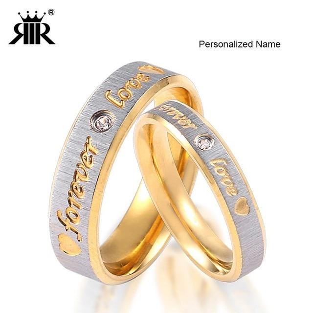 RIR Nome Personalizado Ouro Para Sempre O Amor Anéis de Casamento Casal Engajamento Eternidade Coração e Anel Em Aço Inoxidável Das Mulheres Dos Homens de Cristal