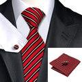Mens Tie Red Black Stripe Silk Jacquard Neckties Hanky Cufflinks Set The Business Wedding Party Ties For Men C-322