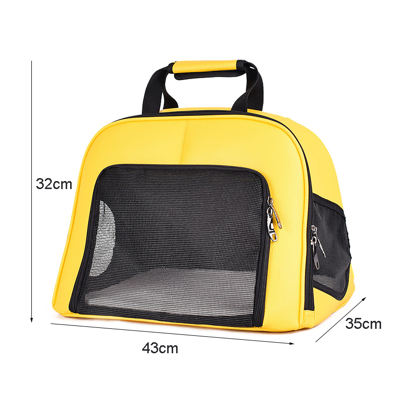 Pet Cat Carrier Foldable Travel Bag Breathable Outdoor Handbag Pet Production for Cats Dog Multi-functional Fashion Yellow 2