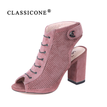 CLASSICONE women shoes sandals genuine leather summer woman boots high heel pumps fashion brand spring autumn suede sexy luxury