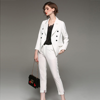 Two Piece Set Temperament Women Casual Stripes Lapel Long Sleeved Pants Two Piece Suit Black White