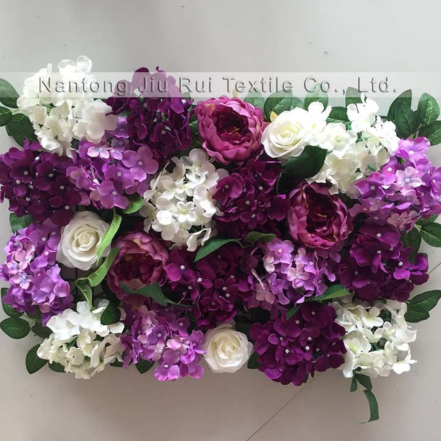 2017 purple with white green wedding flower wall backdrop 4pcs/lot ...
