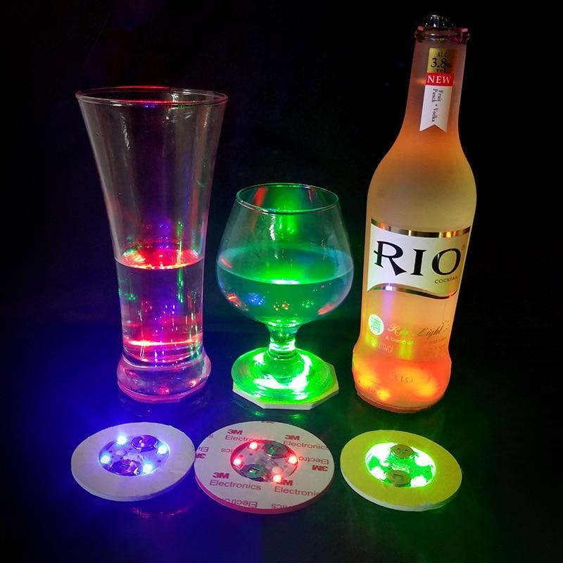 120pcs 6CM LED Decoration Light Bottle Stickers Glorifier Mini LED Coaster Cup Mat For Party Bar Club Vase Wedding Wine Glass