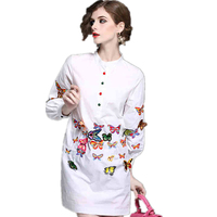 Brand Fashion 2019 Spring Women Blouses and Shirts Long Sleeve Butterfly Embroidery White Cotton Blouse Casual Long Shirt LCY167