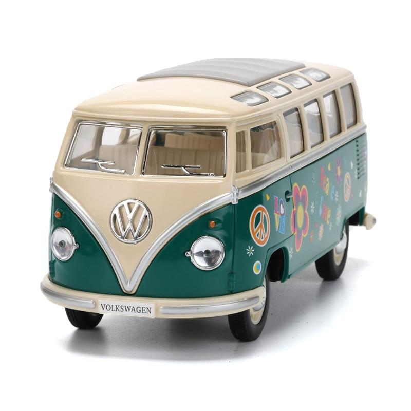 1:24 2018 1962 Volkswagen Moulé Sous Pression En Métal Bus Jouets, peinture Fleur Pull Back Modèle De Voiture/Brinquedos, voitures Jouets Pour Enfants