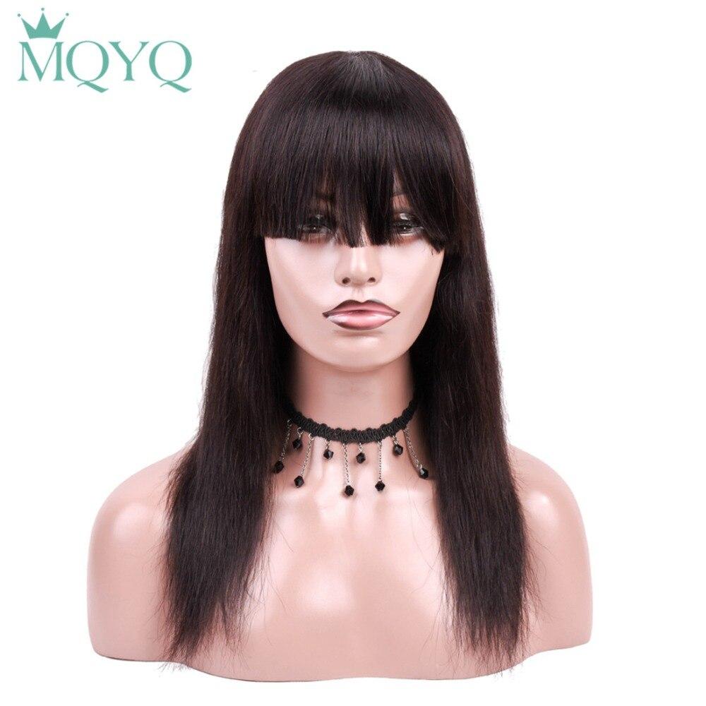 MQYQ Bob perruque avec Bang plate brésilienne droite courte dentelle avant perruques de cheveux humains pour les femmes noires pré plumées avec des cheveux de bébé 0492