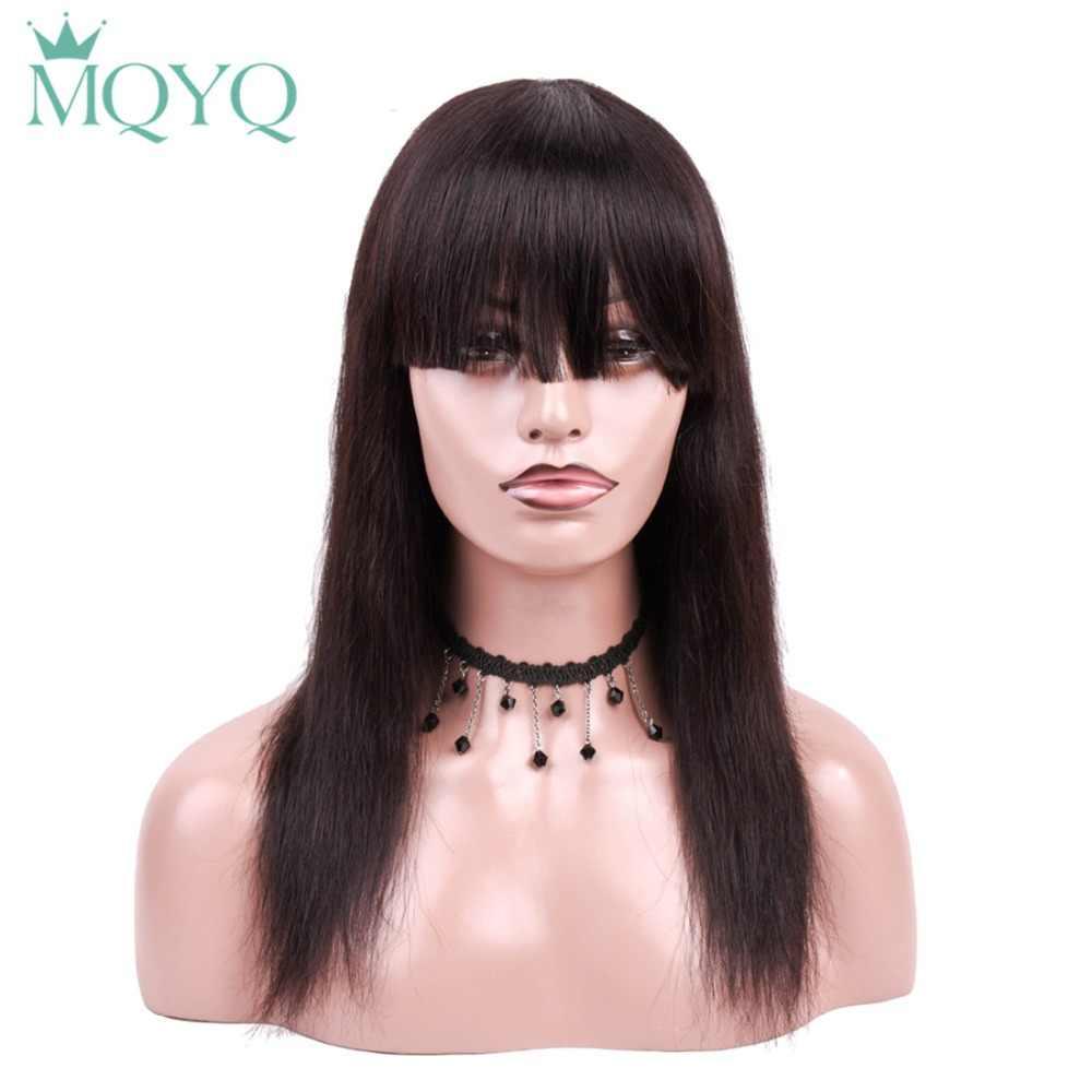 MQYQ боб парик с плоским взрыва бразильский прямой короткий кружевной передний парик человеческих волос парики для черных женщин предварительно сорвал с детскими волосами 0492