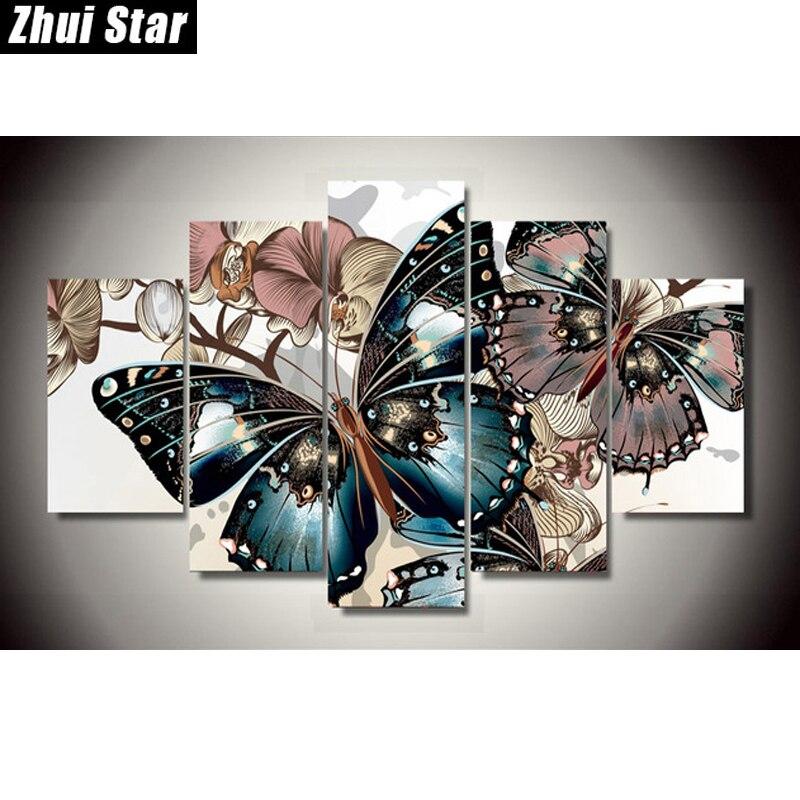 Zhui Étoiles 5D DIY Carré Plein Diamant Peinture papillon multi-image Combinaison 3D Broderie Point De Croix Mosaïque décor