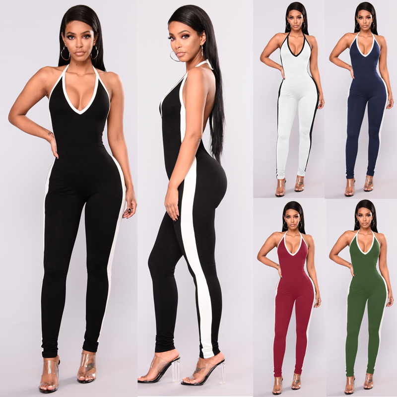 2019 Sexy Girls Backless Playsuit Tights Deep V Neck  Rompers Womens Jumpsuit Sling Rompers Bodysuit Jumpsuits For Women