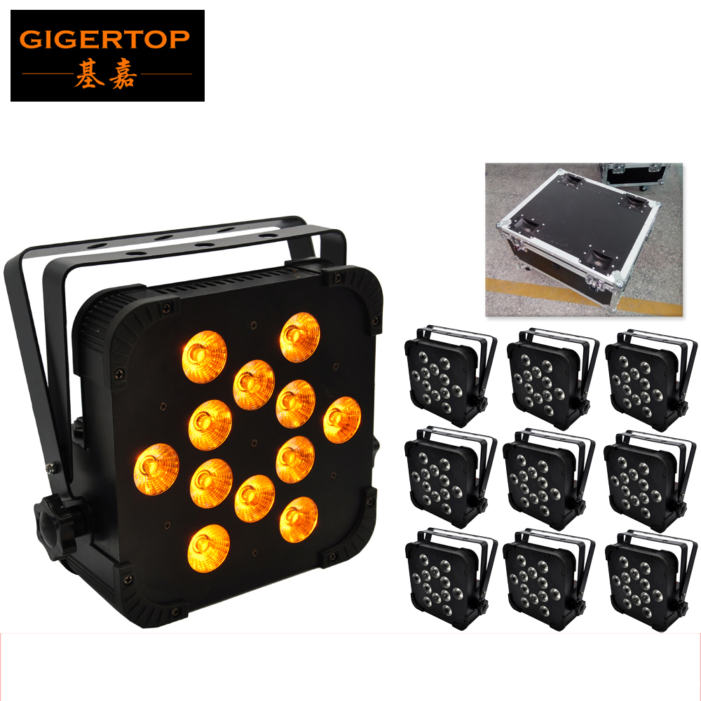 TIPTOP 10XLOT 12*15W High Power DMX Control Stage Led Par Light RGBWA 5IN1 Color Jump/Gradual/Sound Change 10in1 Road Case Pack