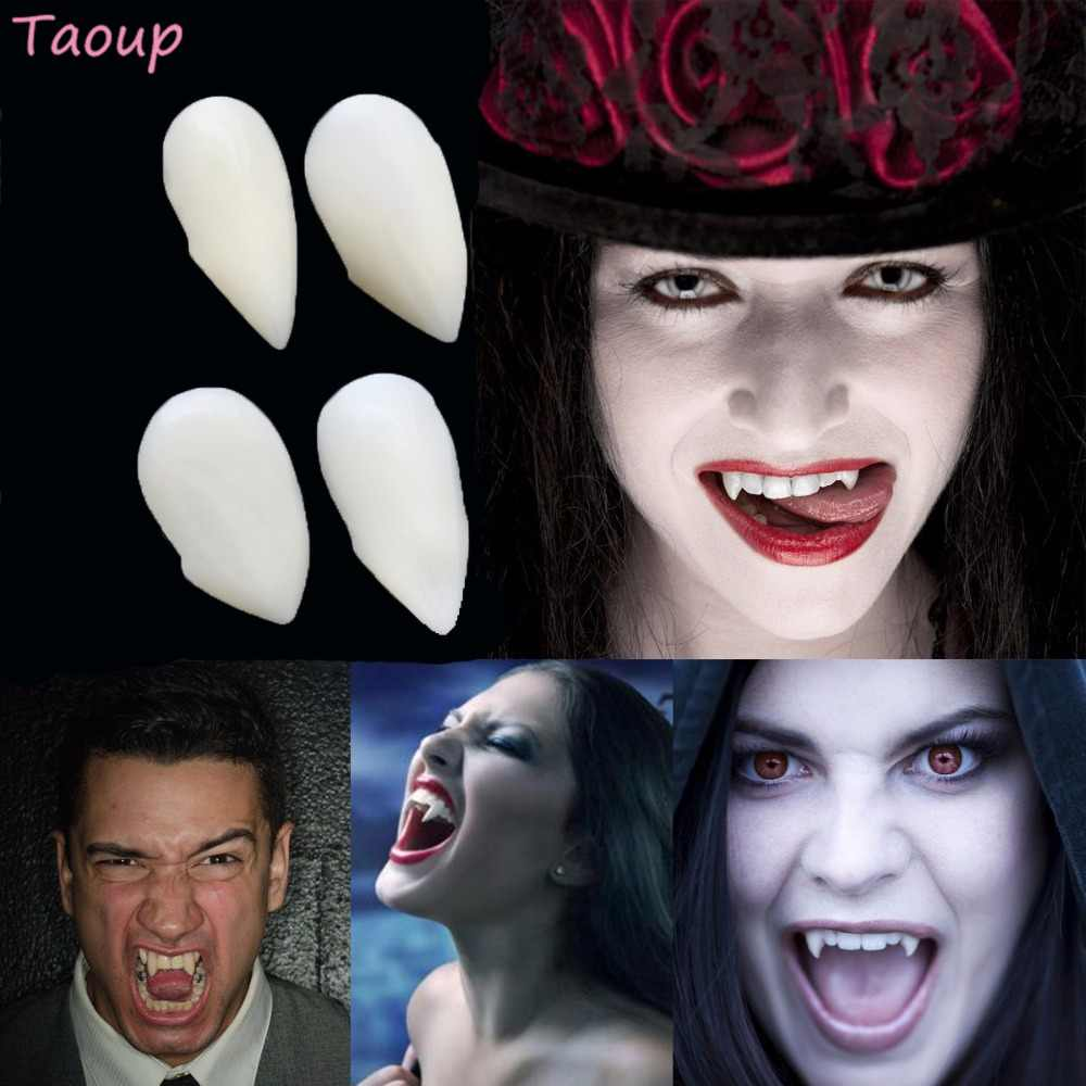 Taoup 2pcs Cosplay Vampire Teeth Fangs Dentures Props Zombie Horror Costume Halloween 2018 Accessories Party Decor for Adults