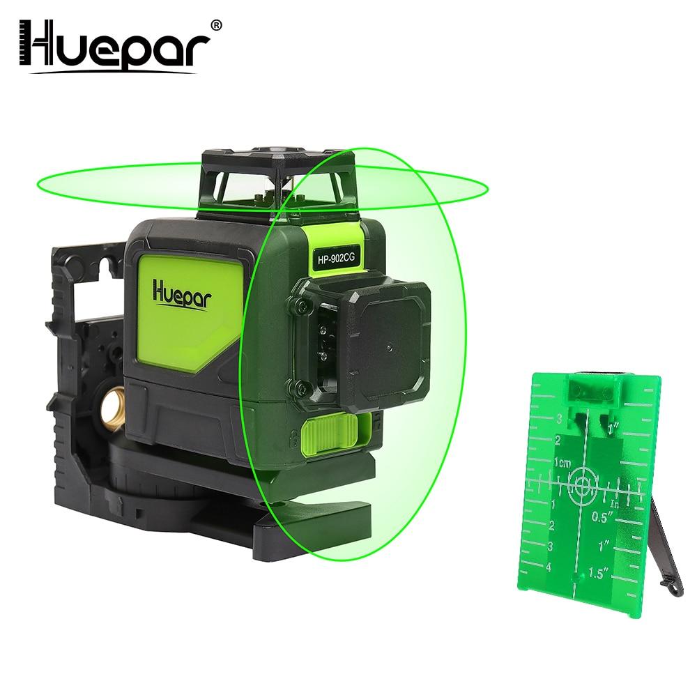 Linha transversal profissional do laser do feixe verde do auto-nivelamento de huepar linha horizontal e vertical da cobertura de 360 graus com modos do pulso