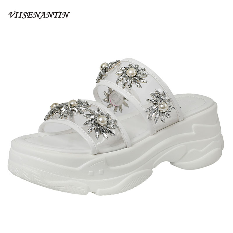 VIISENANTIN thick-bottomed muffin sandals slippers female 2019 summer rhinestone pearl film sun flower crystal slippersVIISENANTIN thick-bottomed muffin sandals slippers female 2019 summer rhinestone pearl film sun flower crystal slippers