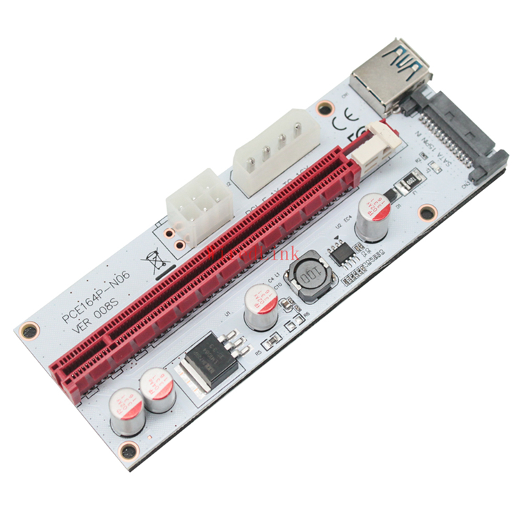2018 Brand New PCI-E 1X to 16X Graphics Card Extension Data SATA Cable For VER008S BTC Miner DIY White Board image