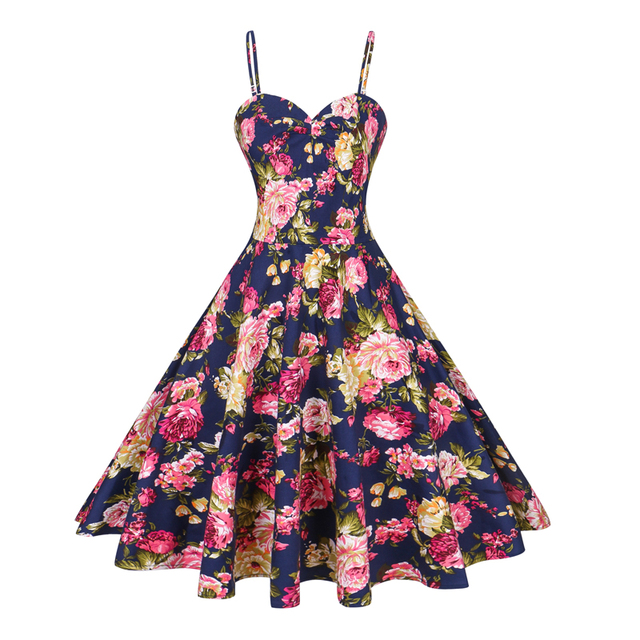 4e0e3a74517 Plus Size 1950 Summer Floral Print Vintage Dress Women Sexy Halter Cotton Rockabilly  Swing Retro Evening