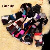 Factory Wholesale New Luxury Mix Colors Real Mink Fur Coat Natural Genuine Mink Fur Jacket KSR80