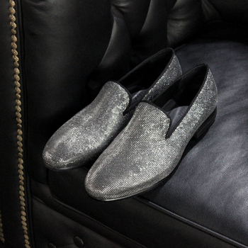 Handmade Sliver Formal Loafers Hombre Sapatos Flat heel Genuine leather Spring Driving Loafers for men