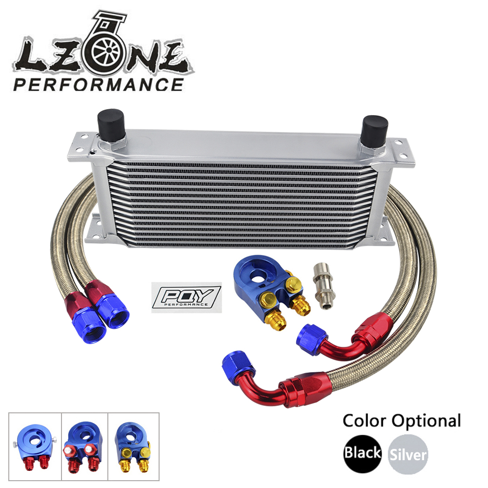 LZONE - UNIVERSAL 16 ROWS OIL COOLER +OIL FILTER SANDWICH ADAPTER+SS NYLON STAINLESS STEEL BRAIDED AN10 HOSE W/ PQY STICKER+BOX vr universal 10 rows trust type oil cooler oil filter adapter nylon stainless steel braided an10 hose w pqy sticker box