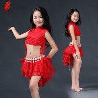 Dziecko Piękne ubrania Dziewczyny eleganckie ubrania taniec brzucha taniec brzucha 2 sztuk (sleeveles top + spódnica) dziewczyny brzuch taniec kostium 3 kolory S/L