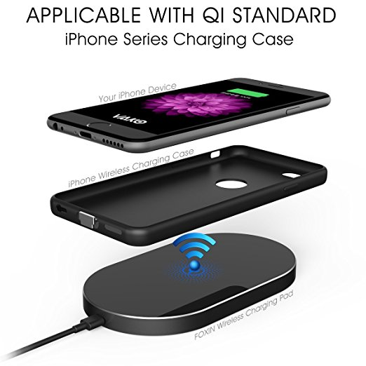 Foxin QI Ultra-Slim 3 Coils Metal Aluminum Wireless Charging Pad for IPhone 8 Samsung and All Qi-Enabled DevicesFoxin QI Ultra-Slim 3 Coils Metal Aluminum Wireless Charging Pad for IPhone 8 Samsung and All Qi-Enabled Devices