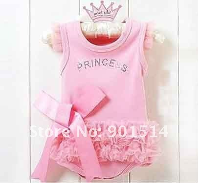 Promtion 2016 New cute&fashion Baby romper Girl Wear The lovely princess pink bow lace girl Rompers