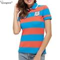 Tangnest mulheres tees 2017 verão venda quente listrado curto tops camisetas de manga curta casuais mulheres respirável camisas pólo wtp006
