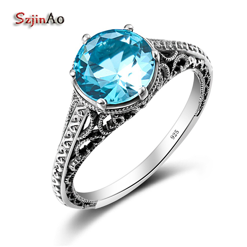 Szjinao Round Stone Rings For Women Aquamarine Jewelry Genuine 925 sterling silver jewelry Classic Engagement Wedding Ring