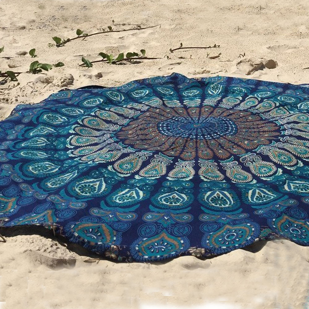 Multifunction Round Beach Pool Home Shower Towel Blanket Table Cloth Yoga Mat