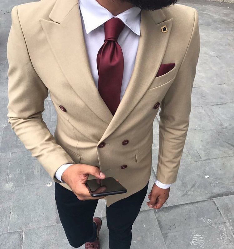 2018 Men Suits Khaki Double Breasted Blazer Wedding Suits Groom Tailored Made Tuxedo Terno Masculino 2 Pieces (Jacket+Pants) X ...