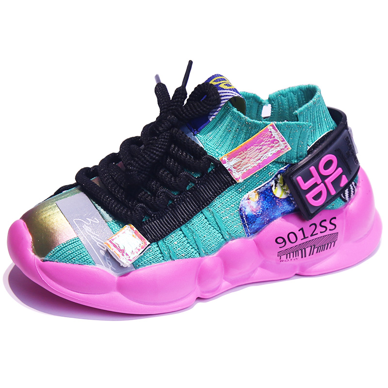 ULKNN Girls Running Shoes 2019 Autumn New Children's Shoes Kids Mesh Sports Shoes Boys Breathable Soft Bottom Casual