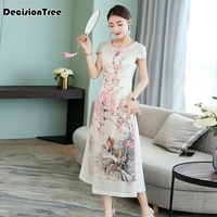 2019 new woman white print aodai vietnam traditional clothing ao dai vietnam dress vietnam costumes improved cheongsam dress