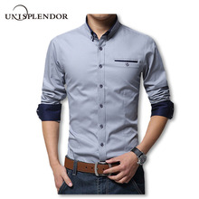 2016 New Spring Cotton Shirts Men High Quality Long Sleeve Slim Fit Shirt Pure Color Modern Casual Camisa Big Size 5XL YN270