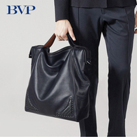 BVP Famous Brand Fashion Soft Real Leather Shoulder Bag Male Crossbody Bag Business Portable Men Messenger Bag Multi function 50