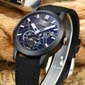 LIGE Luxury Brand Automatic Mechanical Watch Men Military Waterproof Wristwatches Canvas Skeleton Watch Relojes Hombre Clock Man