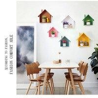 Casa de madeira prateleira de parede/sala de estar decoração pendurar na parede/quarto pequeno pêndulo criativo rack de armazenamento