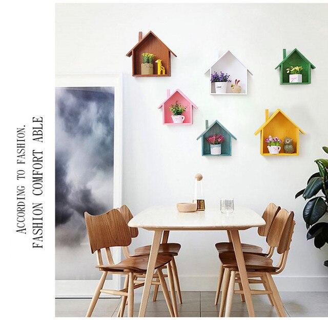 Wooden House Wall Shelf Living Room Decoration Hang Bedroom Small Pendulum Creative Storage