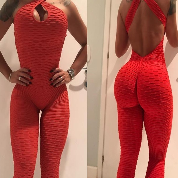 2018 New Women High Elastic Yoga Pants Sexy Halter Bodysuit Sport Jumpsuit Yoga Trousers Fitness Tights Leggings Sportswear in Yoga Pants from Sports Entertainment