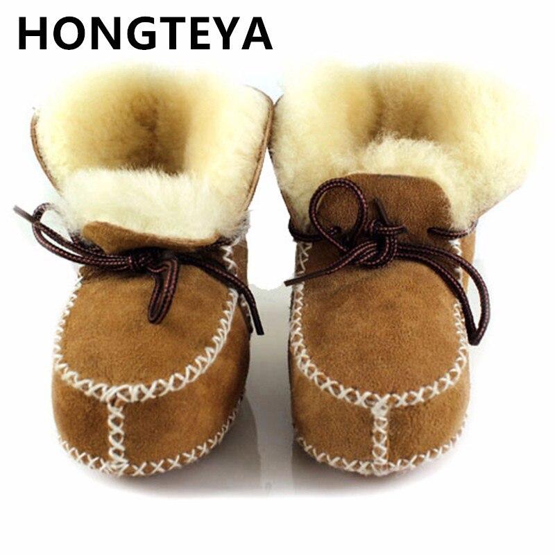Stiefel 2019 Winter 100% Reine Australische Schaffell Handgemachte Baby Bootie Wildleder Super Warm Mit Pelz Baby Jungen Mädchen Stiefel Baby Schuhe