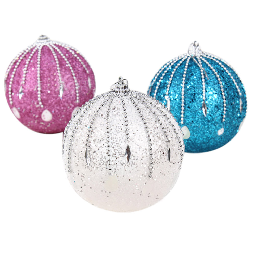 1Pcs Christmas 8CM Romantic meteor shower shape Rhinestone Glitter Balls Party Xmas Tree Plant Berries toy b#1107 dropship