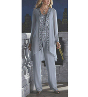 Beading women 3 piece elegant sequins chiffon mother of the bride dress pants suit floor length for wedding groom 2020