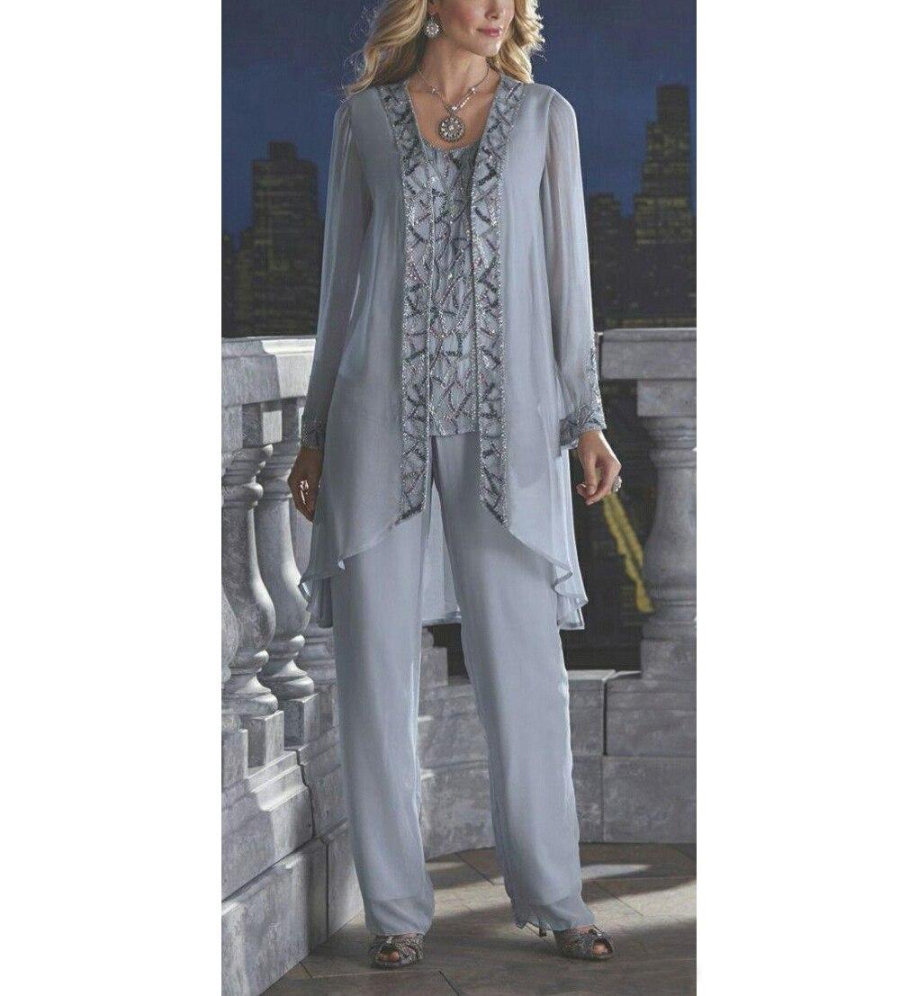 Women 3 Piece Elegant Sequins Chiffon Mother Of The Bride Dress Pants Suit Floor Length For Wedding Groom 2019