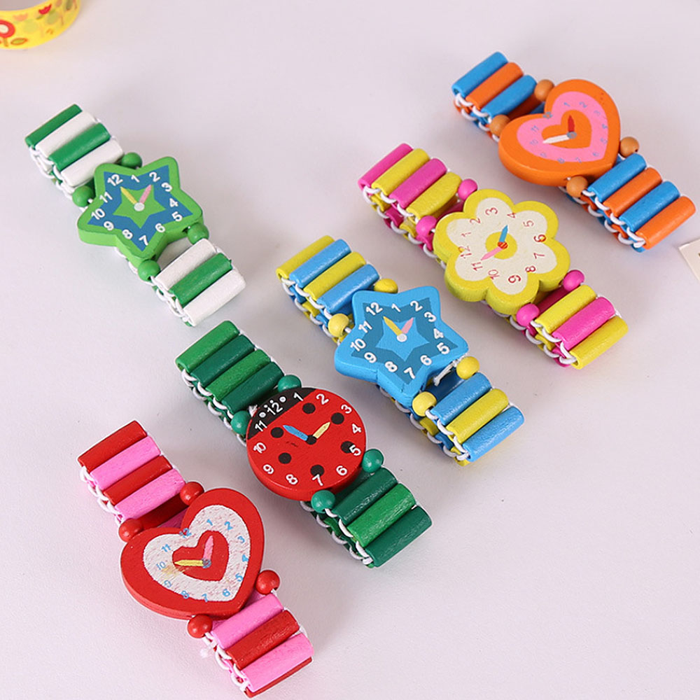 Boys Girls Children's Cartoon Simulation Wooden Watch Student Stationery Gifts Crafts Bracelet Watch Toys Random Color New